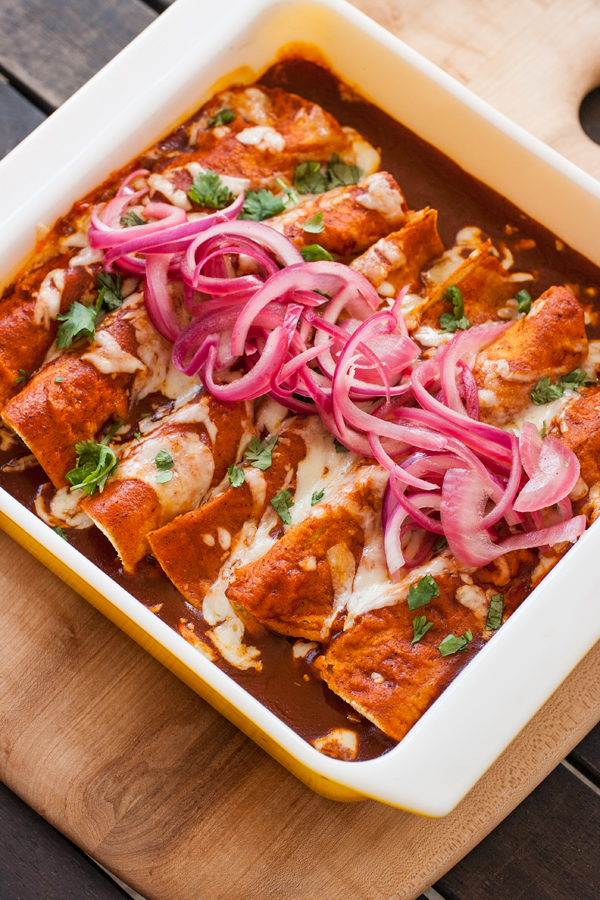 Shortcut Chicken Enchiladas -- by Kathy Strahs, The 8x8 Cookbook (Burnt Cheese Press, 2015)
